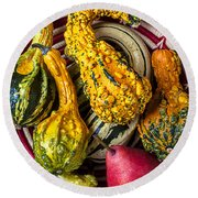 Red Pear And Gourds Round Beach Towel