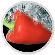 Red Pepper Falling Into Water Round Beach Towel