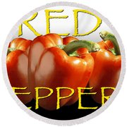 Red Peppers On White And Black Round Beach Towel