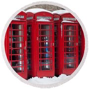Red Phone Boxes Round Beach Towel