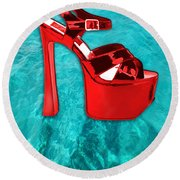 Red Platform Divers Round Beach Towel