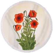 Red Poppies Watercolor Painting Round Beach Towel