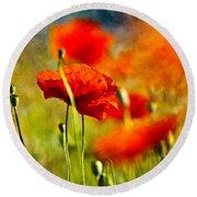 Red Poppy Flowers 01 Round Beach Towel by Nailia Schwarz