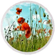 Red Poppy Flowers 03 Round Beach Towel by Nailia Schwarz