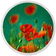 Red Poppy Flowers 07 Round Beach Towel