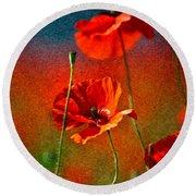 Red Poppy Flowers 08 Round Beach Towel