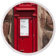 Red Postbox Round Beach Towel