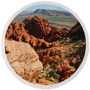 Red Rock Canyon At The Tank Round Beach Towel