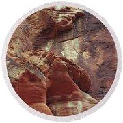 Red Rock Canyon Petroglyphs Round Beach Towel