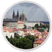 Red Rooftops Of Prague Round Beach Towel