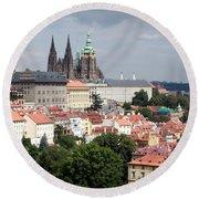 Red Rooftops Of Prague Round Beach Towel by Linda Woods
