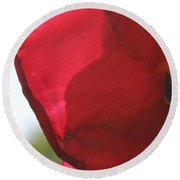 Red Rose Petal Round Beach Towel