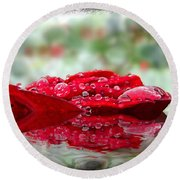 Red Rose Reflections Round Beach Towel