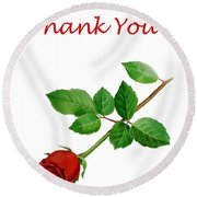 Red Rose Thank You Card Round Beach Towel