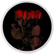 Red Roses 3 Round Beach Towel