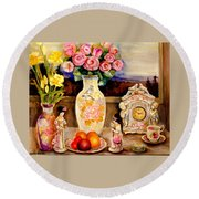 Red Roses Yellow Daffodils In Hand Painted Oriental Antique Vases With Fruit Plate Doves And Angels Round Beach Towel