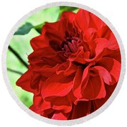 Red Ruby Dahlia Round Beach Towel