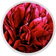 Red Ruffles Round Beach Towel
