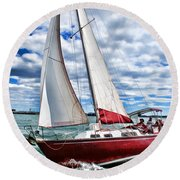Red Sailboat Green Sea Blue Sky Round Beach Towel