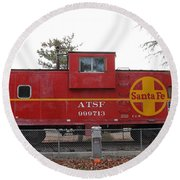 Red Sante Fe Caboose Train . 7d10328 Round Beach Towel