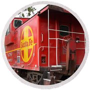 Red Sante Fe Caboose Train . 7d10332 Round Beach Towel