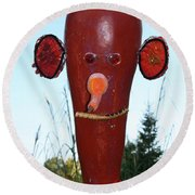 Red Scarecrow Round Beach Towel