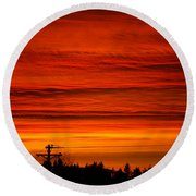 Red Skies At Night Round Beach Towel