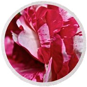 Red Speckled Rose Round Beach Towel