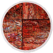 Red Splashes Swishes And Swirls - Abstract Art Round Beach Towel