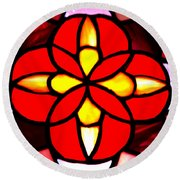 Red Stained Glass Round Beach Towel