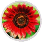 Red Sun Flower Round Beach Towel