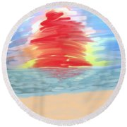 Red Sun Setting Round Beach Towel
