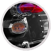 Red Tail Lights Round Beach Towel