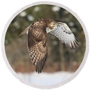 Red Tailed Take-off Round Beach Towel