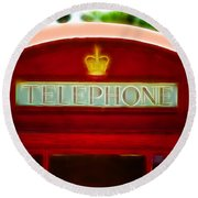 Red Telephone Box Round Beach Towel