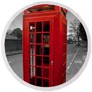 Red Telephone Box Round Beach Towel