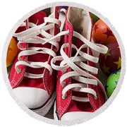 Red Tennis Shoes And Balls Round Beach Towel