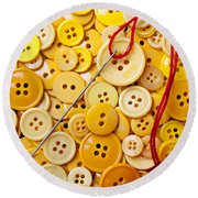 Red Thread And Yellow Buttons Round Beach Towel