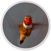 Red Throated Golden Hummingbird Round Beach Towel