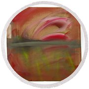 Red Tide White Round Beach Towel