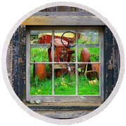 Red Tractor Thru Old Window Round Beach Towel