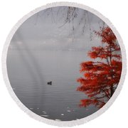 Red Tree On The Lake Front Round Beach Towel