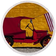 Red Truck Against Yellow Wall Round Beach Towel