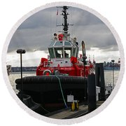 Red Tug Round Beach Towel
