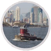 Red Tug Two Round Beach Towel