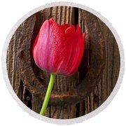 Red Tulip And Horseshoe  Round Beach Towel