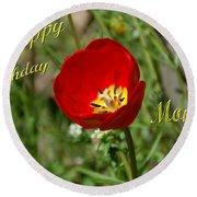 Red Tulip Birthday Round Beach Towel