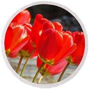 Red Tulip Flowers Art Prints Spring Florals Round Beach Towel