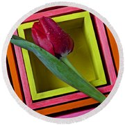 Red Tulip In Box Round Beach Towel