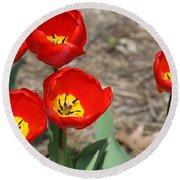 Red Tulips Round Beach Towel